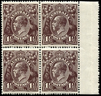 Lot 180:1½d Black-Brown Die I - [2L29-30, 35-36] marginal block of 4, unit 30 with small white flaw in top leaf of left wattles, etc, unit 35 with Blurred flaw to right of THREE etc and unit 36 with shaved inner upper right frame, lower units MUH.