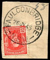 Lot 1263:Faulconbridge: - 'FAULCONBRIDGE/26JY45/N.S.W.' (LRD) on 2½d red KGVI.  RO 15/2/1877; PO 16/10/1891.