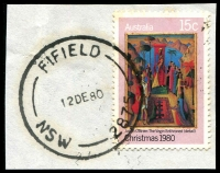 Lot 1266:Fifield: - 'FIFIELD/12DE80/NSW-2875' on 15c Xmas.  Renamed from Fiefield PO 16/3/1894; closed 30/6/1981.