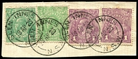 Lot 1287:Glen Innes: - 4 partly overlapping strikes of 'GLEN INNES/18AP23/N.S.W.' (Type 2E - ERD by 8 years) on ½d green, 1d violet x2 & 1½d green KGV.  PO 1/8/1854.