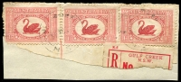 Lot 1295:Gulf Creek: - 2 light strikes of 'GUL[F] CREEK/31OC2?/N.S.W' (ERD by 18 years!) on 1½d WA Centenary x3 on piece with part of red 'GULF CREEK' registration label.  RO 16/11/1895; PO 1/8/1897; TO 1/4/1965; closed 28/2/1966.