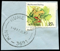 Lot 1302:Hume Weir (2): - 'HUME WEIR/1P17JE82/NSW-3691' (Victorian postcode) on 27c Frog.  PO 1/8/1952; closed 7/3/1985.