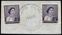 Lot 6940:Island Bend: - 'ISLAND BEND/15NO61/N.S.W-AUST' on 1d purple QEII x2.  PO 11/1/1951; closed 30/4/1968. [Snowy Mountains Scheme]
