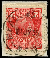 Lot 1327:Meadows Hotel: - 'MEADOWS HOTEL/1JY35/N.S.W' on 2d red KGV.  RO 1/5/1898; PO 1/7/1927; TO 12/3/1942; renamed Meadow Glen TO 1/8/1960.