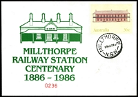 Lot 1002:Millthorpe: - 'MILLTHORPE/29NO86/N.S.W.' on illustrated Millthorpe Railway Station Centenary 36c PSE, unaddressed.  Renamed from Spring Grove PO 1/3/1884.