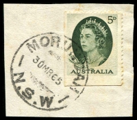 Lot 1336:Morundah: - 'MORUNDAH/30MR65/N.S.W' on 5d green QEII.  Renamed from Murundah PO 26/8/1895; closed 31/5/1982.