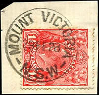 Lot 1010:Mount Victoria: - 'MOUNT VICTORIA/29FE28/N.S.W' (leap day) on 2d red KGV.  Renamed from One Tree Hill PO 1/7/1876.