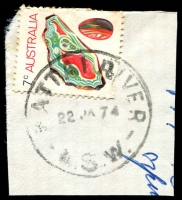 Lot 1357:Nattai River: - 'NATTAI RIVER/22JA74/N.S.W.' on 7c Agate.  PO 6/5/1907; closed 29/6/1979.