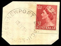 Lot 1362:Newport Beach: - 'NEWPORT BEACH/12JY55/N.S.W-AUST' on 3½d red QEII.  PO 12/11/1928.