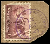 Lot 1367:Northbridge: - violet '* POST OFFICE */12/AUG/1949/NORTHBRIDGE N.S.W.' on 1/6d Hermes.  PO 25/11/1920.