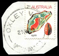 Lot 1373:Oxley Vale (2): - OXLEY VALE/21AU73/NSW-AUST' on 7c Agate.  PO 1/7/1966; closed 31/3/1977.