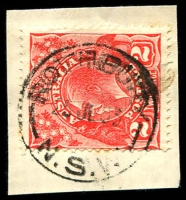 Lot 1426:Rothbury: - partly doubled 'ROTHBURY/25JL33/N.S.W' (Type 2A - ERD) on 2d red KGV.  PO 1/1/1876; closed 31/12/1953.