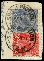 Lot 7382:Spit Junction: - 2 partly overlapping strikes of 'SPIT JUNCTION/27JE31/N.S.W.' on 2d red & 3d blue KGV.  PO 17/5/1926.