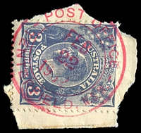 Lot 1126:Tenterfield: - double-circle '* POST OFFICE */FEB/22/1932/TENTERFIELD, N.S.W.' in red on 3d KGV.  PO 1/1/1849.