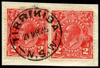 Lot 1469:Tirrikiba: - 'TIRRIKIBA/21MR35/N.S.W' (Type 2A) on 2d red KGV x2.  PO 1/11/1921; renamed Mayfield East PO 1/8/1952.