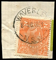 Lot 1552:Waverley (1): - 'WAVERLEY/8-NO.1921/N.S.W.' [type 2(v)] on 2d orange KGV. [Only recorded use 1921.]  PO 1/1/1858; renamed Bondi Junction PO 11/9/1938.
