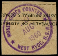 Lot 1569:West Ryde: - violet '* MONEY ORDER COUNTER */20/AUG/1960/WEST RYDE, N.S.W' on piece.  PO 1/12/1914.