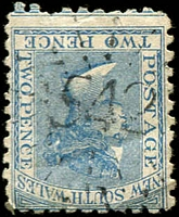 Lot 718:542: rays on 2d blue DLR. [Rated 3R]  Allocated to Gegedgzerick-PO 1/8/1874; renamed Berridale PO 1/4/1886.