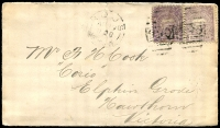 Lot 1104:990: 2 strikes of BN on 1d Centennial x2 tied with framed 'ROUS/AU19/1890/N.S.W' (B2 - previously recorded by Hopson & Tobin for 1908 only) on cover to Hawthorn, Victoria, vertical crease. [Rated 2R]  Allocated to Dalwood Richmond River-PO 16/9/1879; renamed Rous PO 21/10/1882; TO 17/4/1950; closed 30/4/1952.