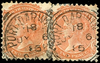 Lot 1293:Port Darwin: - 2 partly overlapping strikes of 23mm squared-circle 'PORT DARWIN N.T./18/JY6/85/S_A' on 2d orange DLR x2 (reinforced).  Renamed from Palmerston PO c.1877; renamed Darwin PO 18/3/1911.