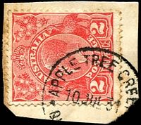 Lot 1384:Apple Tree Creek: - 'APPLE TREE CREEK/10JUL.31/Q[UEENSLAND]' on 2d red KGV (toned perfs).  RO c.1898; PO c.-/1/1909; closed 25/7/1975.