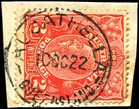 Lot 1386:Augathella: - 26mm 'AUGATHELLA/10OC22/QUEENSLAND' on 2d red KGV.  Renamed from Ellangowan PO 28/5/1883.