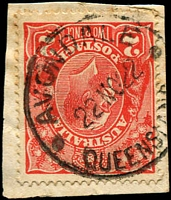 Lot 1387:Avondale: - 'AVONDALE/22NO22/QUEENSLAND' on 2d red KGV.  RO 22/7/1890; PO 8/9/1898; closed c.1984.