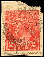 Lot 1394:Banana: - 'BANANA/?--18JY22/QUEENSLAND' on 2d red KGV.  PO 1/9/1861.