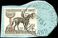 Lot 1500:Mount Darry: - 'MT DARRY/8FE61/QUEENSLAND' on 5d Melbourne Cup. [Rated 3R]  RO c.1898; PO 1/7/1927; TO 1/2/1966.
