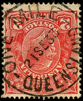 Lot 1517:One Mile: - 'ONE MILE/21SE33/QUEENSLAND' on 2d red KGV.  Renamed from One Mile Creek PO c.1892; closed 31/1/1979.