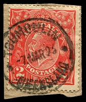 Lot 1549:Tumoulin: - 'TOUMOULIN/7MAR23/QUEENSLAND' (sic) on 2d red KGV.  RO c.-/3/1912; PO c.1913; closed 30/4/1977.