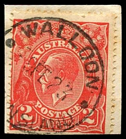 Lot 1552:Walloon: - 'WALLOON/9FE23/[QUEE]NSLAND' on 2d red KGV.  PO 16/4/1870; closed 30/9/1976.