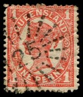 Lot 1693:125: '125' rays on 1d 4-Corners. [Rated R]  Allocated to Gilberton-PO 1/7/1869; closed 31/12/1873.