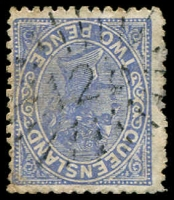 Lot 1695:128: '128' rays on 2d blue Lined-Oval. [Rated R]  Allocated to Doughboy Creek-PO 1/4/1869; renamed Clydesdale PO 1/7/1876; renamed Hemmant PO 1/10/1876.