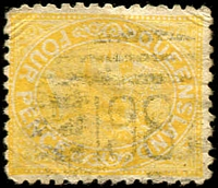 Lot 7701:198: BN on 4d yellow Lined-Oval.  Allocated to Aramac-PO 1/3/1874.