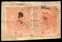 Lot 8007:25: rays on 1d Lined-Oval pair.  Allocated to Oxley Creek-PO 1/10/1862; renamed Oxley PO c.1863.