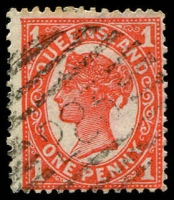 Lot 8229:283: BN on 1d red 4-Corners.  Allocated to Redcliffe-PO 1/6/1878.