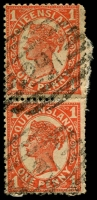 Lot 1728:291: 2 strikes of BN on 1d 4-Corners pair.  Allocated to Bald Hills-RO c.1871; PO 1/9/1878.
