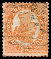 Lot 1736:318: light BN on 1d orange Sideface. [Rated R]  Allocated to Reidsville-PO 15/11/1879; renamed Reid River PO 25/7/1884; closed 30/6/1975.