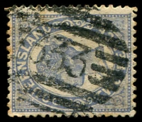 Lot 1740:333: BN on 2d blue Void-Oval.  Allocated to Boolboonda-PO 14/2/1882; RO 18/9/1884; PO 1/7/1925; closed 30/4/1927.