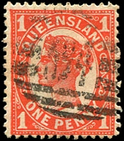 Lot 8295:394: BN on 1d 4-Corners.  Allocated to Mount Morgan-RO 17/7/1884; PO 18/5/1885.