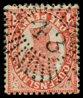 Lot 1661:43: rays on 1d red Void-Oval.  Allocated to Sandgate-PO 9/4/1863.
