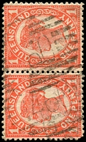 Lot 1371:460: 2 strikes of BN on 1d 4-Corners pair. [Rated R]  Allocated to Hillgrove-RO c.1880; PO 20/1/1888; closed c.-/10/1906.