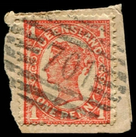 Lot 1787:701: BN on 1d 4-Corners. [Rated 3R]  Allocated to Mount Larcom-Renamed from Mount Larcombe RO c.1905; PO c.-/11/1909.