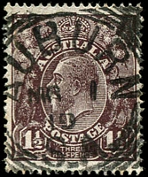 Lot 1633:Auburn: - 27mm squared-circle 'AUBURN/MR1/19/S_A' on 1½d black-brown KGV.  Renamed from Kercoonda PO 21/8/1851.