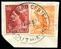 Lot 2093:Booleroo Centre: - 'BOOLEROO CENTRE/12JA57/SOUTH-AUST' on ½d Roo & 3½d red QEII.  Renamed from Booleroo Central PO c.-/2/1883.