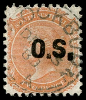 Lot 2100:Cockburn: - 25mm squared-circle 'COCKBURN/DE3/8?/S_A' on 2d orange DLR 'OS' o/print. [Rated R]  PO c.1887; closed 29/1/1988.