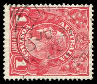 Lot 2102:Collinsville: - squared-circle 'COLLINSVILLE/JU21/15/S_A' on 1d red KGV. [Rated 3R]  PO 1/4/1896; closed 1/12/1917.