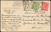 Lot 1701:Largs Bay: - 2 strikes of 27mm squared-circle 'LARGS BAY/2/JY10/07/S.A' on ½d green & 1d red DLR on multicoloured PPC 'Viaducts, near Adelaide' South Australian Post Card, addressed to Marseille, France, used corners.  PO 17/1/1883.
