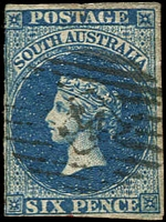 Lot 1603:34: on 6d blue PB Imperf. [Rated 2R]  Allocated to Auburn-Renamed from Kercoonda PO 21/8/1851.